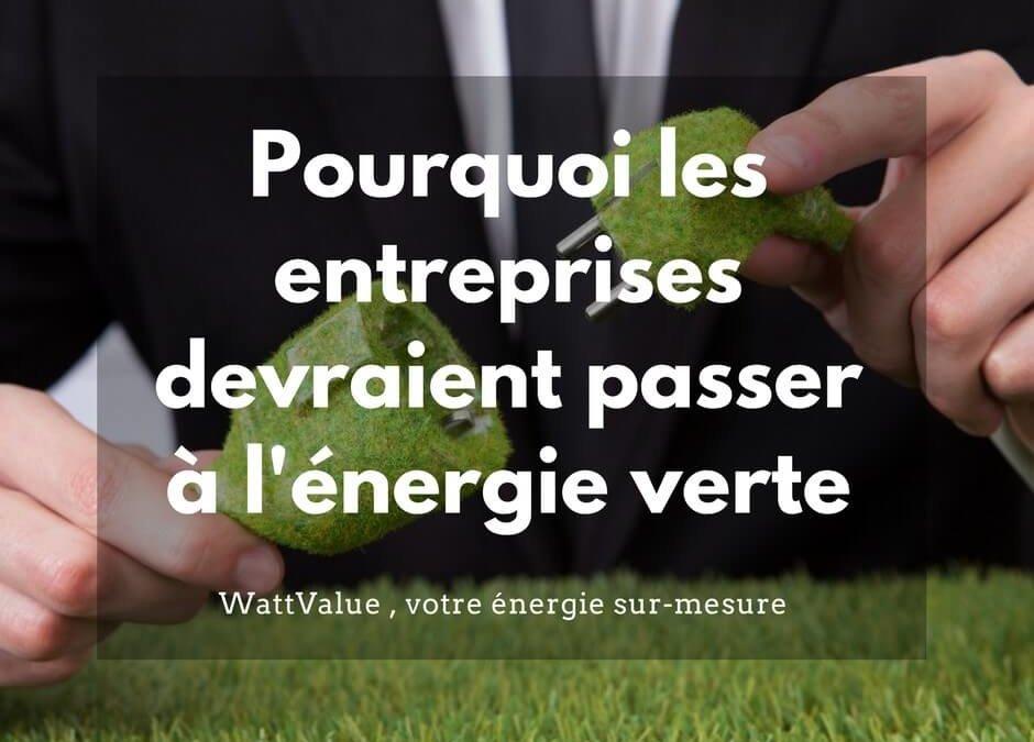 Pourquoi les entreprises devraient passer à l'énergie verte?
