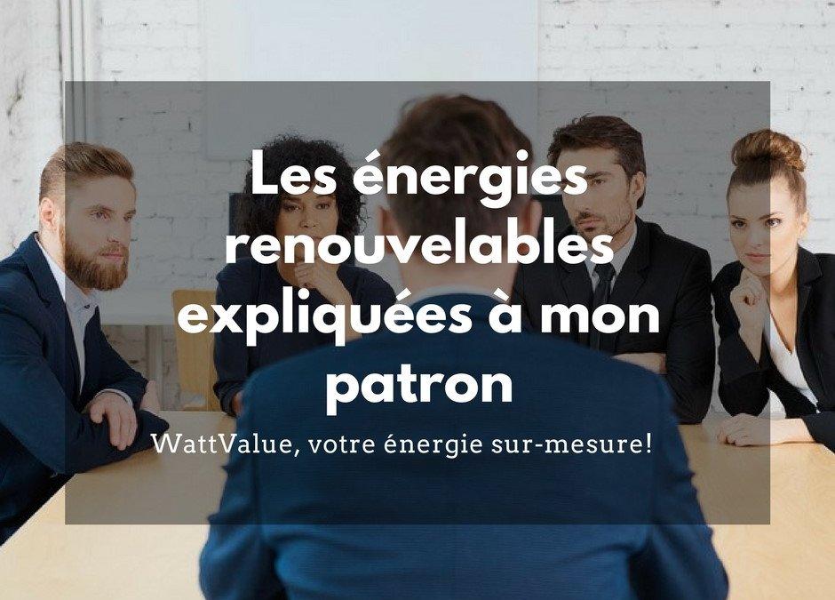 Les énergies renouvelables expliquées à mon patron