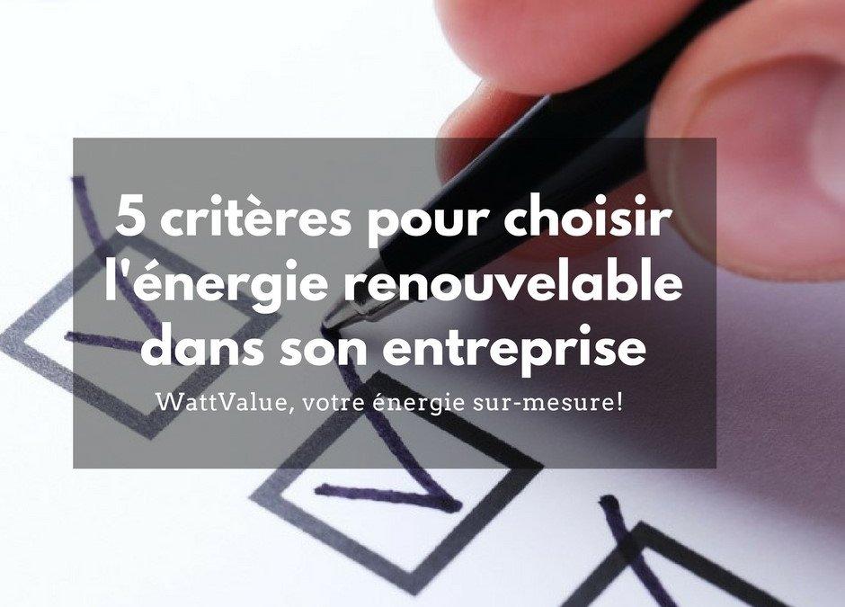 5 critères pour choisir l'énergie pour son entreprise