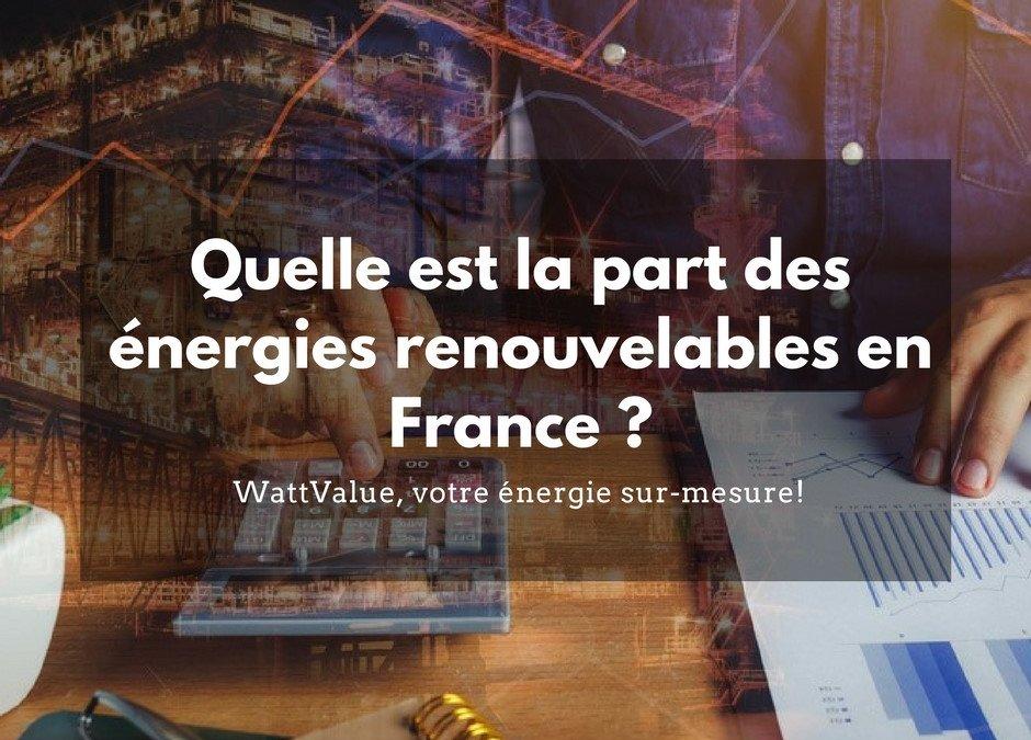 Quelle est la part des énergies renouvelables en France ?