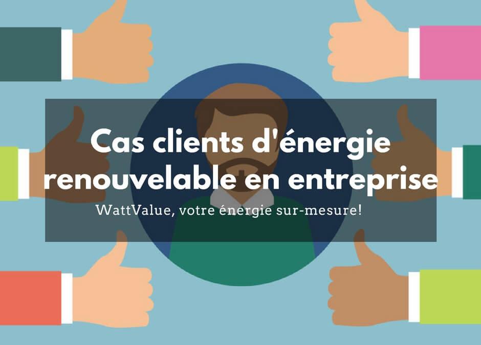 Cas clients d'énergie renouvelable en entreprise