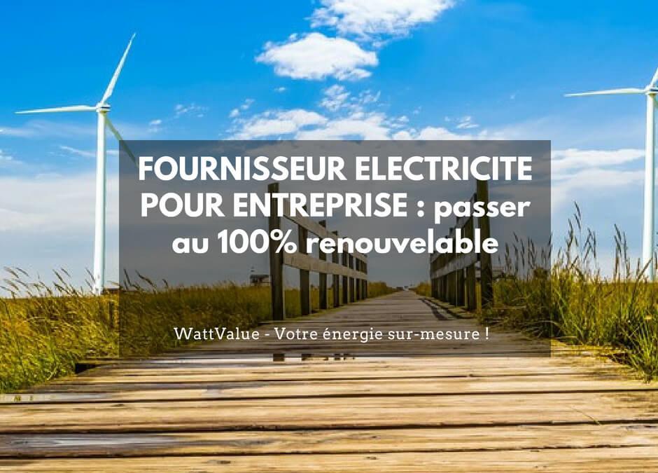 FOURNISSEUR ELECTRICITE POUR ENTREPRISE : passer au 100% renouvelable