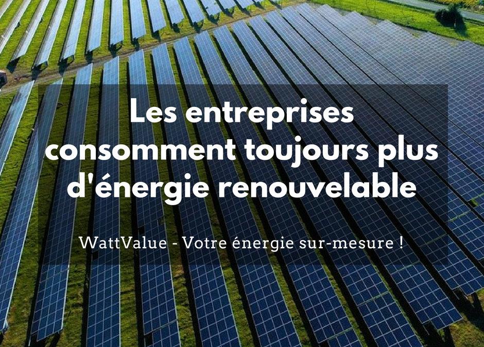 Les entreprises consomment toujours plus d'énergie renouvelable