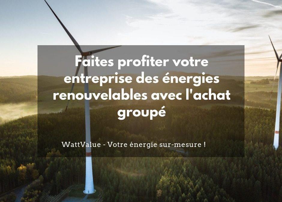 Faites profiter votre entreprise des énergies renouvelables avec l'achat groupé