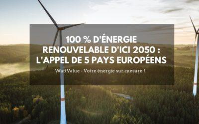 100 % d'énergie renouvelable d'ici 2050 : l'appel de 5 pays européens