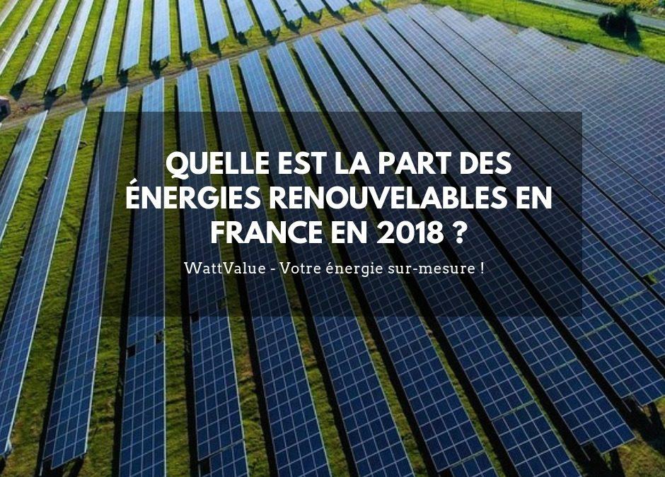 Quelle est la part des énergies renouvelable en France en 2018 ?