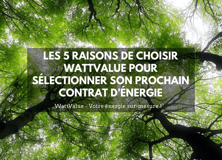 LES 5 RAISONS DE CHOISIR WATTVALUE POUR SÉLECTIONNER SON PROCHAIN CONTRAT D'ÉNERGIE